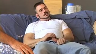 Gay daddy fucked and sucked off at the same time