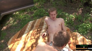 twink fed huge load after outdoor butt ravaging